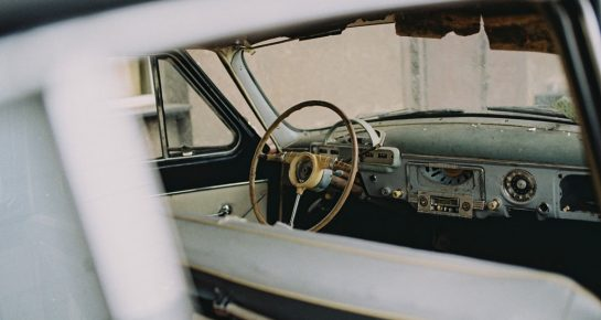 old car cabin through the window