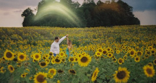 romantic couple dancing in a sunflower field